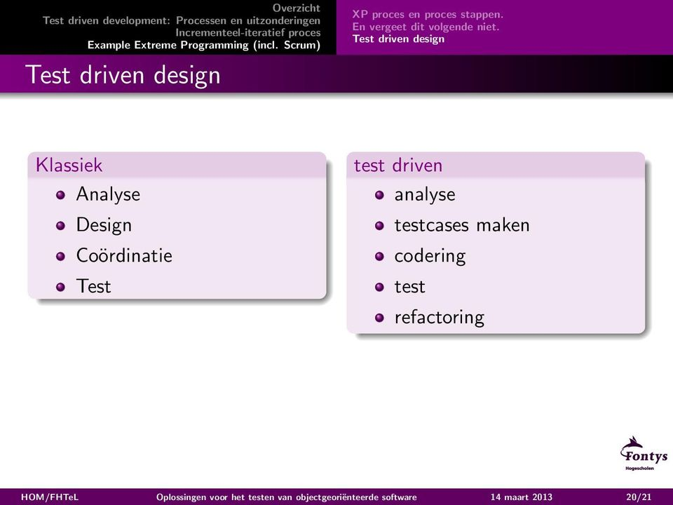Test driven design Klassiek Analyse Design Coördinatie Test test driven