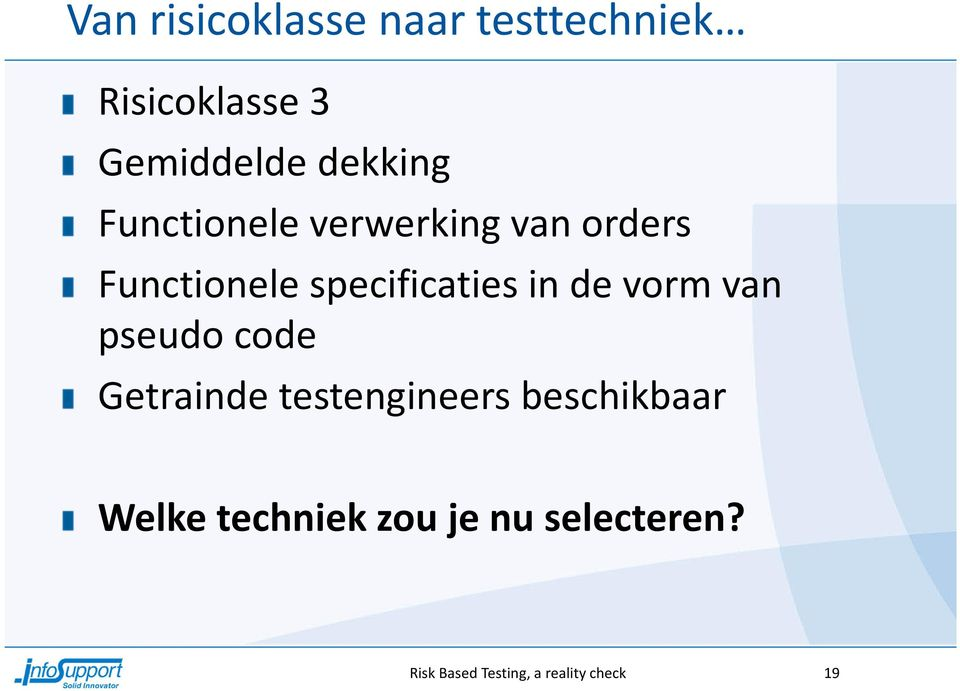 specificaties in de vorm van pseudo code Getrainde testengineers