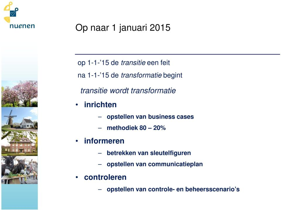 business cases methodiek 80 20% informeren betrekken van sleutelfiguren