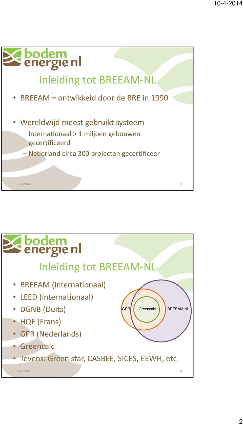 Inleiding tot BREEAM NL BREEAM (internationaal) LEED (internationaal) DGNB (Duits) HQE (Frans)