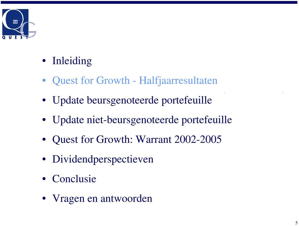 niet-beursgenoteerde portefeuille Quest for Growth: