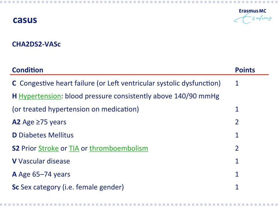 hypertension on medica>on) 1 A2 Age 75 years 2 D Diabetes Mellitus 1 S2 Prior Stroke or TIA