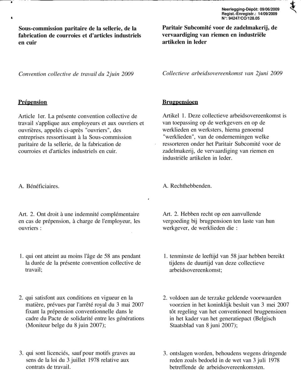 2009 Prépension Article 1er.