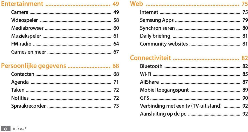 .. 75 Samsung Apps... 79 Synchroniseren... 80 Daily briefing... 81 Community-websites... 81 Connectiviteit... 82 Bluetooth.
