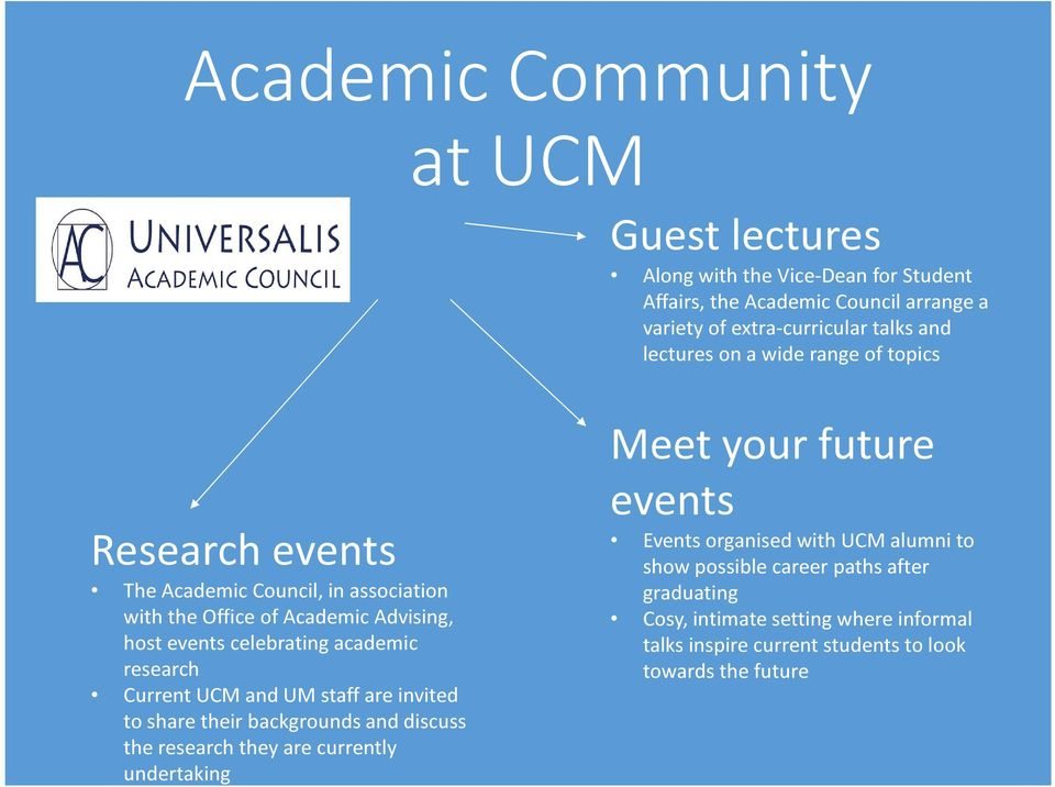 research Current UCM and UM staff are invited to share their backgrounds and discuss the research they are currently undertaking Meet your future events Events