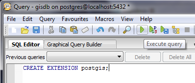 Typ in het venster voor de query: CREATE EXTENSION postgis; Klik dan op de knop Execute query.