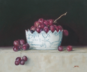Grapes in a bowl, olieverf/doek, 50x60 cm