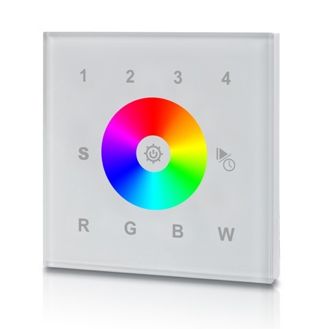 WANDCONTROLLER 4-zones draadloos WIFI wandcontroller van ABS kunststof voor het aansturen van single color, RGB of RGBW 24V ledstrips Frequentie: 2,4Ghz, 25 meter reikwijdte door muren en plafonds