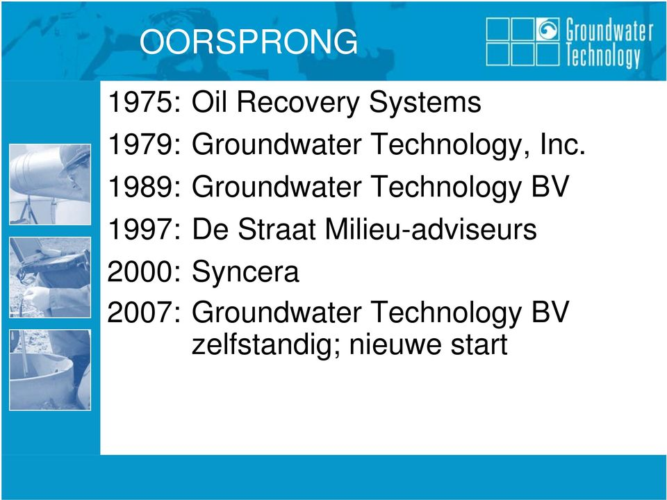 1989: Groundwater Technology BV 1997: De Straat