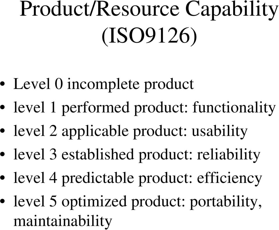 usability level 3 established product: reliability level 4