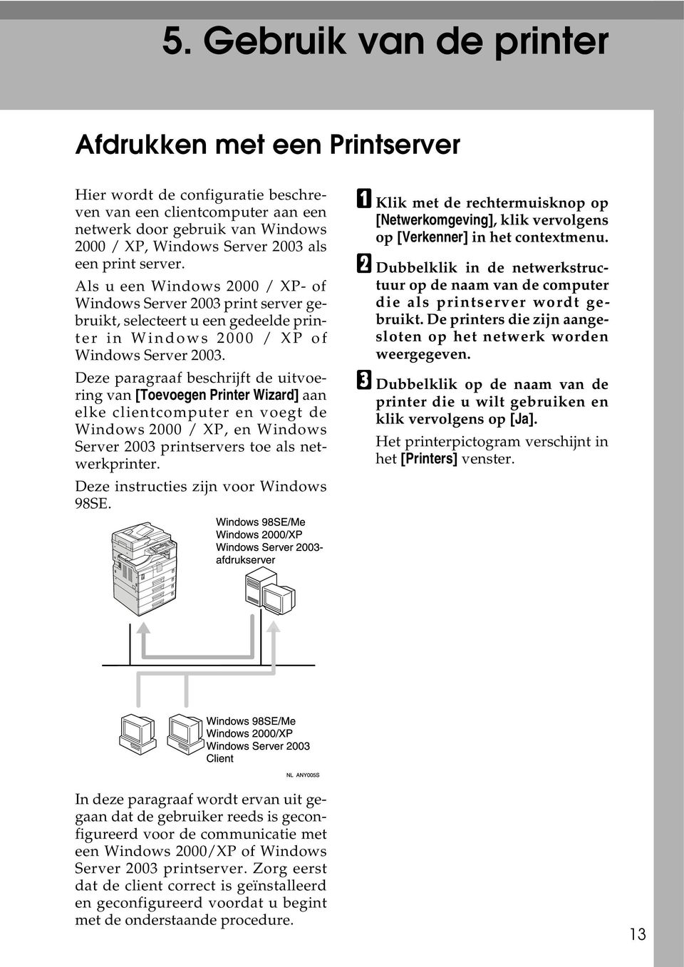 Deze paragraaf beschrijft de uitvoering van [Toevoegen Printer Wizard] aan elke clientcomputer en voegt de Windows 2000 / XP, en Windows Server 2003 printservers toe als netwerkprinter.