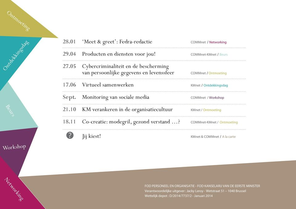 Monitoring van sociale media COMMnet / Workshop 21.10 KM verankeren in de organisatiecultuur KMnet / 18.11 Co-creatie: modegril, gezond verstand?