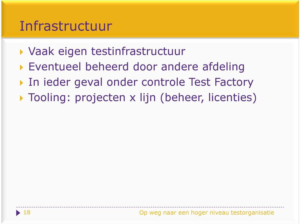 controle Test Factory Tooling: projecten x lijn