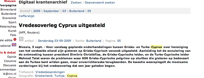 anno 2010 is de kwestie Cyprus nog