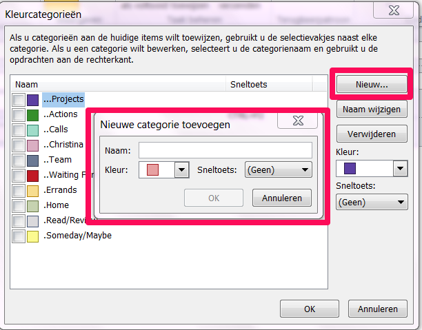 TO CATEGORIZE A TASK: 1. Double-click to open the task. 2. Categoriseren ->select the category 3. Opslaan en sluiten -OR- 1. Right-click on the task. 2. Categoriseren ->select the category TO SETUP THE TASK LIST VIEW: 1.