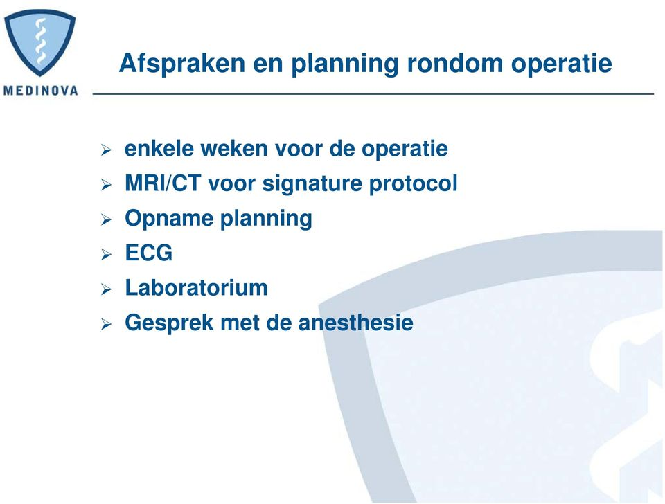 voor signature protocol Opname planning