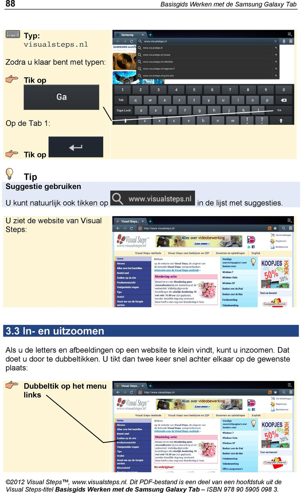 met suggesties. U ziet de website van Visual Steps: 3.