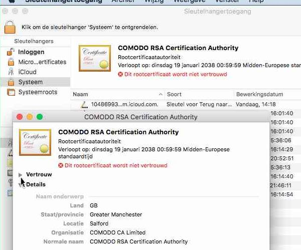 12. Zoek in de lijst naar de zojuist geïmporteerd certificaten ( Comodo RSA Certification Authority en Comodo RSA Domain Validation Secure Server CA ). 13.