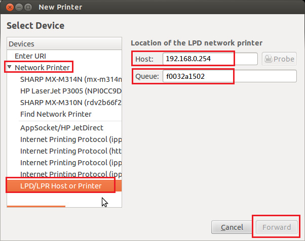 Host or Printer In Host, voer het IP-adres in van de USBserver.