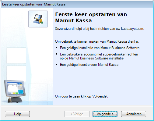 Introductie tot Mamut Kassa Eerste opstart Inleiding U kunt het programma starten via het Startmenu in Windows.