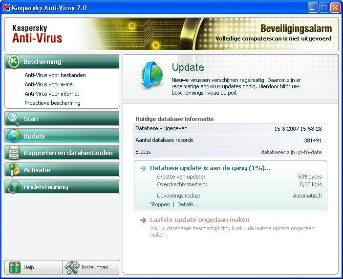 Kaspersky is nu geactiveerd en werkzaam. U hebt zojuist het progamma te geïnstalleerd en dan is het raadzaam handmatig de eerste updates te doen. Start via uw Start-menu Kasperky Anti-Virus op.