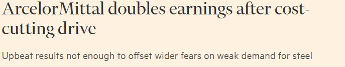The Financial Times 12 mei 2017 ArcelorMittal has reported a double-digit boost to sales and earnings, as a