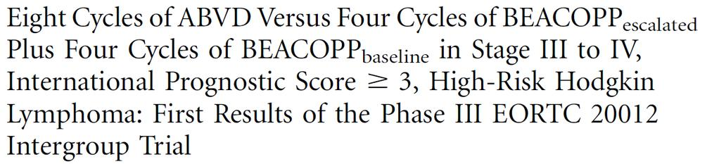 ABVD versus BEACOPPesc Fase-III 2002-2010 N=549 pts Primair eindpunt EFS: no CR/CRu, early treatment