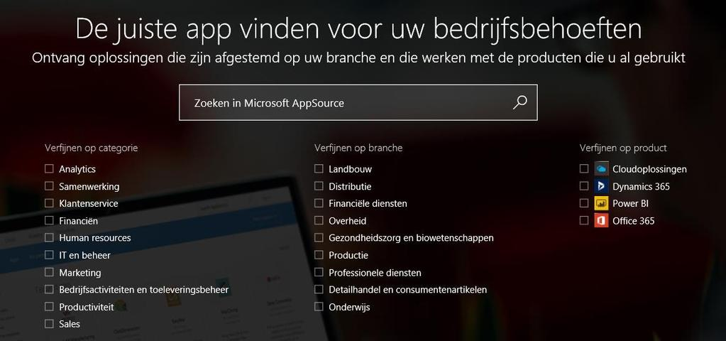 Add-On s Apps uit de online Appsource.