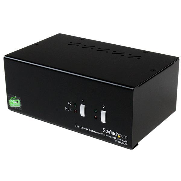 2 Port DVI VGA Dual Monitor KVM Switch USB with Audio & USB 2.0 Hub Product ID: SV231DDUSB The StarTech.