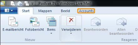 Bijlage 3 Windows computer Stap 1 Klik in het menu op accounts.