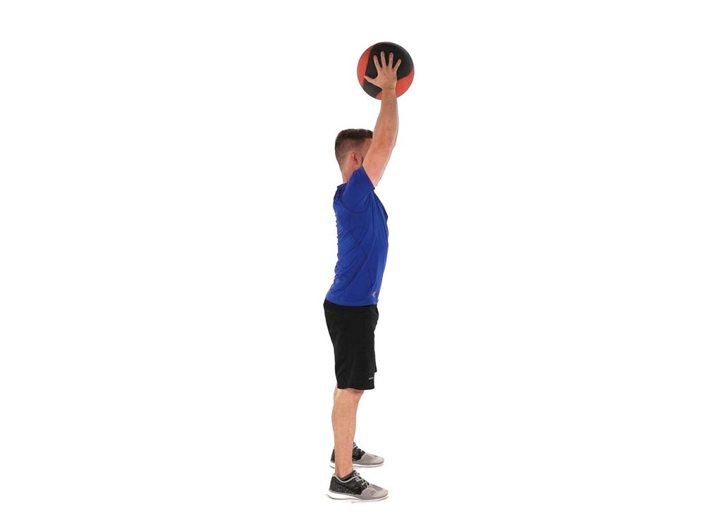 shoulder-width with a medball in your hands.