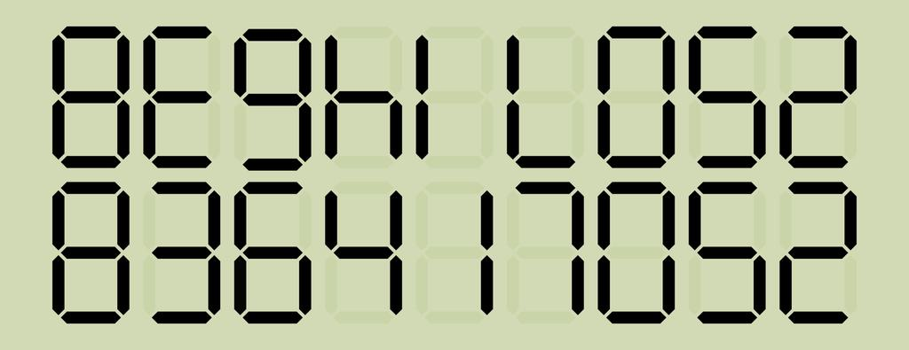After inserting the sequence in a calculator with a 7-segmentdisplay, that is afterwards held upside down, a word can be read on the screen. Example of a 7-segmentdisplay with LED.