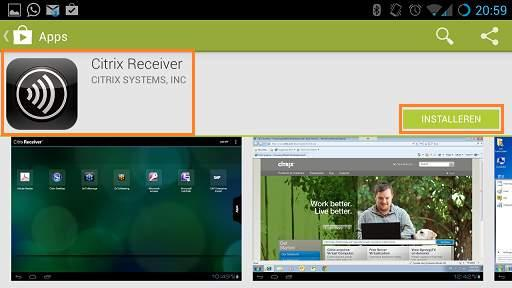 "Portal. 4.1 Citrix Receiver installeren en Intramed opstarten Om verbinding te kunnen maken met Intramed OnLine, installeer je de (gratis) app ""Citrix Receiver"". 1. Ga naar de Google ""Play Store"". 2."