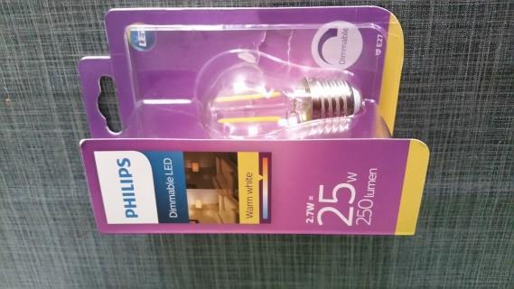 Dimmable, 2,7W, 12 ma, 250 Lm (made in China) De stroom volgt de