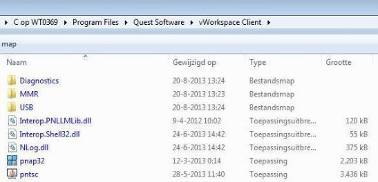 naar de map Program Files (x86) Quest Software vworkspace cliënt en dubbelklik je op