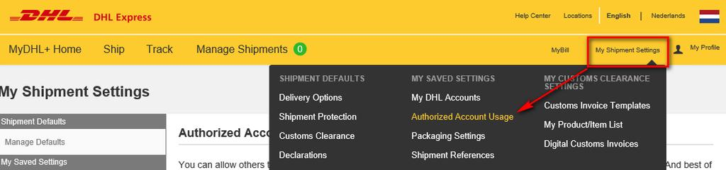 ENGLISH Share your account number(s) within MyDHL+ Within MyDHL+ it is possible to share your account number(s) with others so that your contacts can sent shipments at your account.