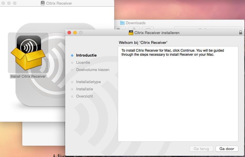 Installeren Citrix receiver (OS X) Open Finder en ga naar de map Downloads.