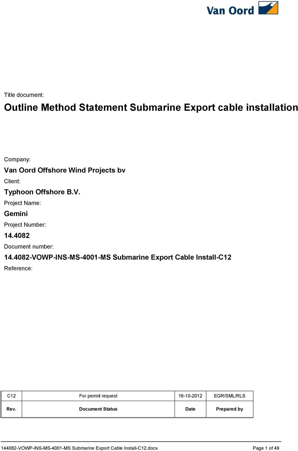 Outline Method Statement Submarine Export cable installation - PDF
