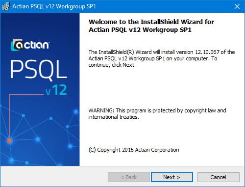 'Install PSQL v12 SP1 Workgroup