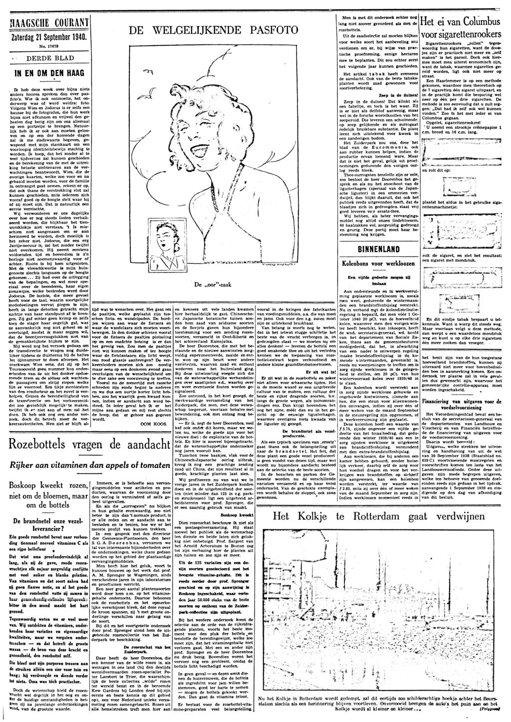 0f88fc2bddfdad de Zij Er mog 1 lever we HAAGSCHE COURANT Zaterdag 21 September 1940 IN EN  No